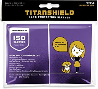 TitanShield (150 Sleeve,Purple Small Japanese Sized Trading Card Sleeves Deck Protector for Yu-Gi-Oh, Cardfight!! Vanguard...