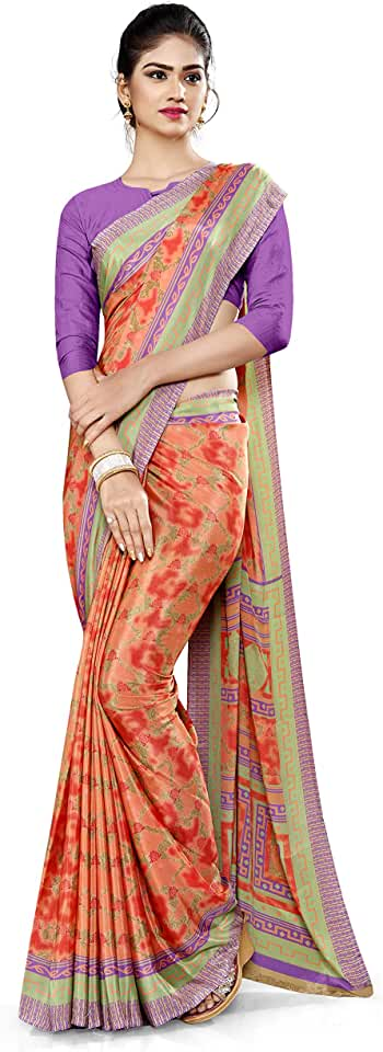 Indian Uniform Sarees Corp Women's Polyester Italian Silk Crepe for Showroom Saree with Blouse (Orange; 1016_21) Saree