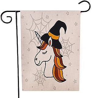 "Fiuqaomy Halloween Magic Unicorn Garden Flag Vertical Double Sized, Holiday Burlap Yard Outdoor Decoration 12.6"" 18.5"""