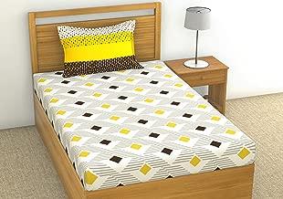 Loreto - A Quality Linen Brand 144 TC 100% Cotton Single Bedsheet with 1 Pillow Cover - Multi Colour