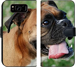 Samsung Galaxy S8 Flip Fabric Wallet Case Image ID: 9491664 a Close up Shot of a Boxer Dog Breathing Heavily with The Tongue Out