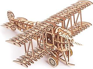 Wood Trick Bi-Plane Toy Kit, Wooden Toy Plane - Mechanical Model Plane Mini - 3D Wooden Puzzle, Assembly Model - STEM Toys...