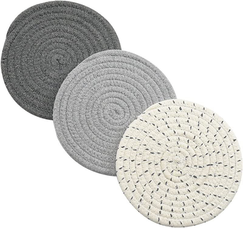 Potholders Set Trivets Set 100 Pure Cotton Thread Weave Hot Pot Holders Set Set Of 3 Stylish Coasters Hot Pads Hot Mats Spoon Rest For Cooking And Baking By Diameter 7 Inches Gray