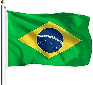 G128 – Brazil (Brazilian) Flag   3x5 feet   Printed – Vibrant Colors, Brass Grommets, Quality Polyester