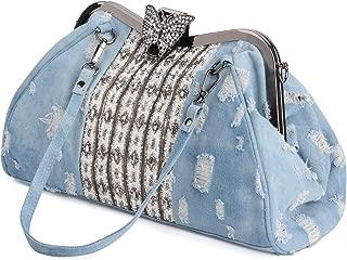Women's Denim Blue Knitted Top Handle Handbags with Shiny Rhinestone