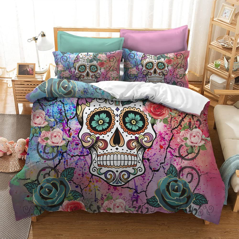 Free Shipping New Sugar Skull Comforter Cover Set Size Teen Girl Super-cheap Twin Bedding