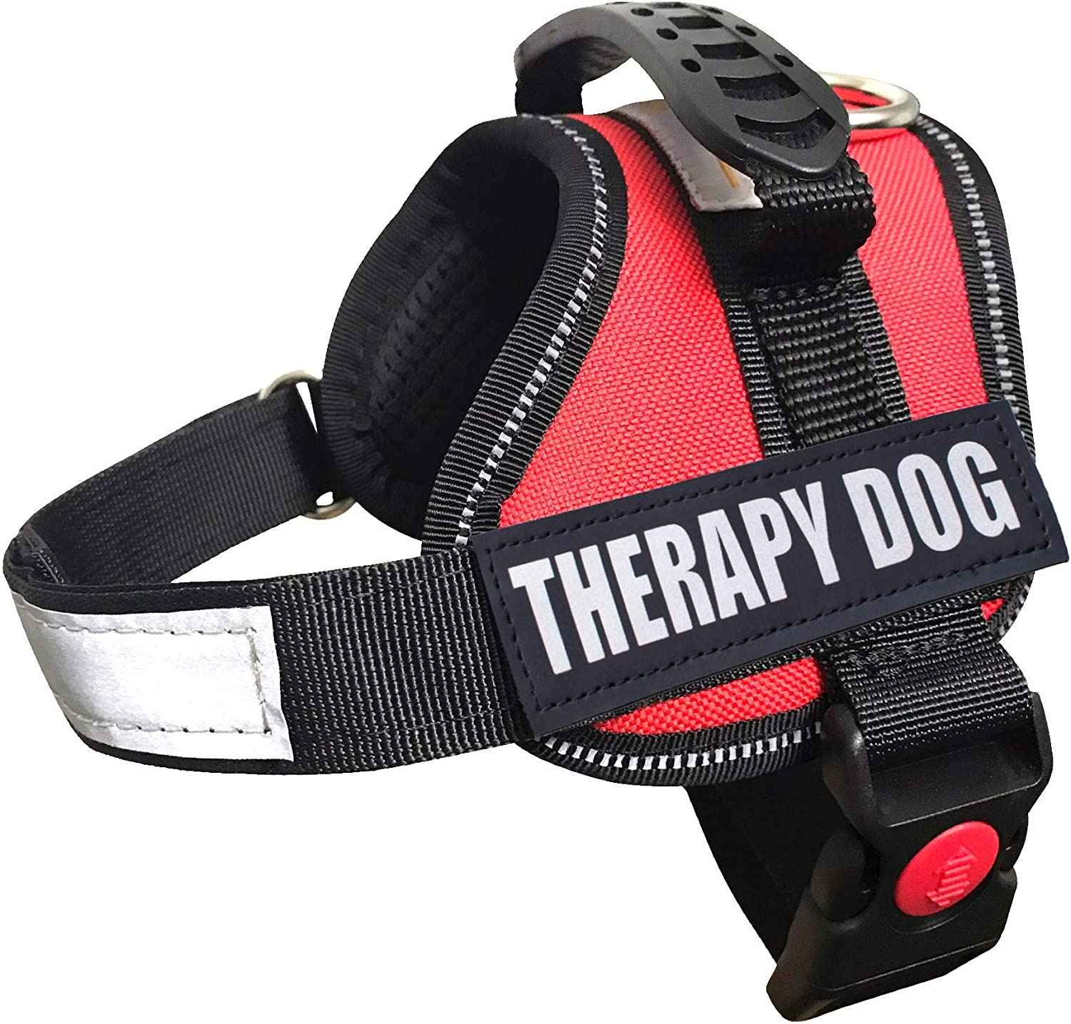 ALBCORP Reflective Therapy Dog Vest Harness, Woven Polyester & Nylon, Adjustable Service Animal Jacket, with 2 Hook and Loop Therapy Dog Removable Patches, XXS, Red