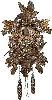 Trenkle Quartz Cuckoo Clock 6 Leaves, 3 brids, nest