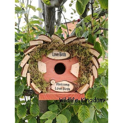 Wildlife Royaume 20080 Nichoir à oiseaux en bois Inscription «Welcome Love Birds» En forme de cœur Pour petits oiseaux 17 x 14 x 17cm