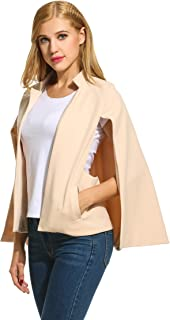 Donkap Womens Woven Structured Cape Blazer Suit Jacket w/Pockets Sand S