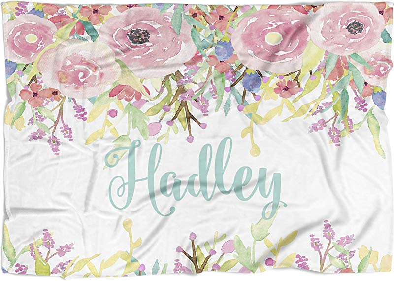 Personalized Baby Blanket Watercolor Floral Drop Frame 50 X 60 Plush Fleece Swaddle Baby Girl Bedding Cute Floral Birth Announcement Baby Shower Gift
