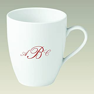 Personalized Mug with Red Script Monogram (Set of 4)