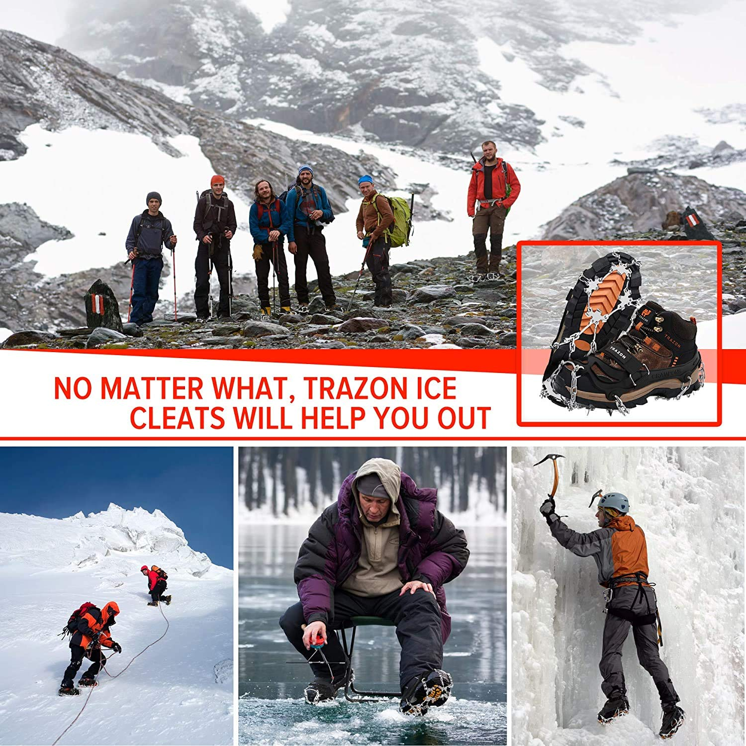 DELFINO Crampons Ice Cleats Cover for Hiking Boots Shoes Anti Slip Walk Traction Spikes Snow Ice Grippers Grips Safe Protect for Climbing Fishing Mountaineering Walking 10-Spikes for Men Women, L