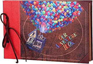 LINKEDWIN Our Adventure Book with Balloon House, Leather Cover Up Themed Vintage Scrapbook Album, Wedding Guest Book, 11.6 x 7.5 inch, Retro Craft Cardstock, 60 Pages