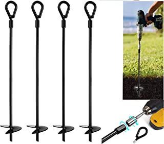 4pcs Augers Anchors Set Kit Rod Tie Down Camping Shelter Tent Canopy Shed Stakes