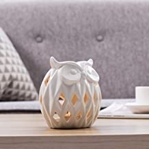 MyGift 5-inch White Owl Ceramic Tealight Candle Holder