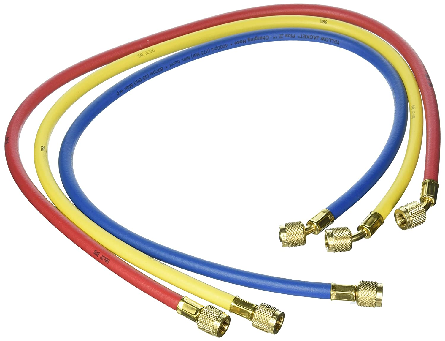 """Yellow Jacket 21983 Plus II Hose Standard 1/4"""" Flare Fittings, 36"""", Red/Yellow/Blue (Pack of 3): Industrial Hvac Components: Industrial & Scientific"""