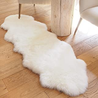 A-STAR (TM) Large Sheepskin Rug Double Pelt - Real Sheep Fur Area Rug 2x6 (Natural White)