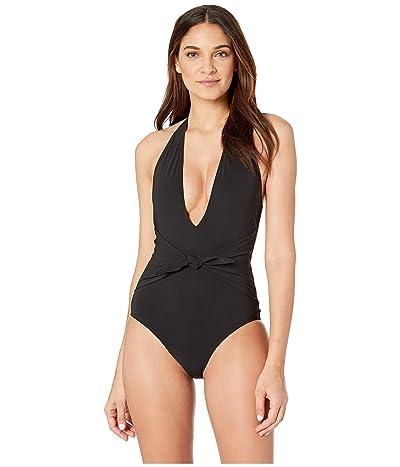 Tory Burch Swimwear Solid Tie One-Piece (Black) Women