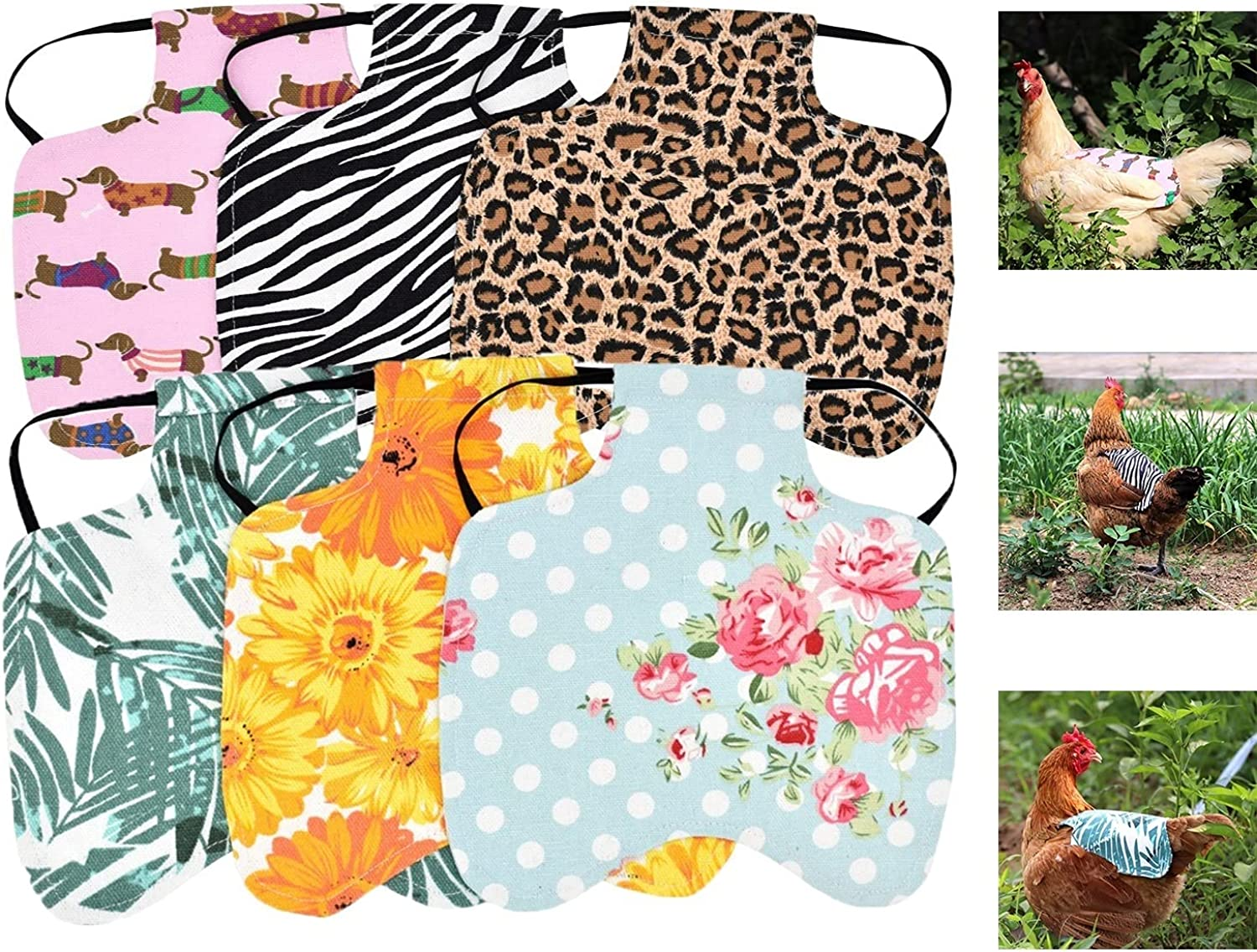 6pcs Chicken New Orleans Mall Saddle Hen Apron Poultry Max 58% OFF Strap Elastic Back