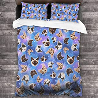 Space Cat Knit Microfiber Comforter Set 86x70 in, Unique 3 Piece Bedding Sets with 2 Pillowcase