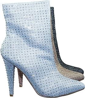 Rhinestone Crystal Embellished High Heel Ankle Bootie in Mesh Glitter