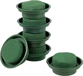 Flower Arrangement Kit - 6-Pack Round Floral Foam in Single Design Bowl for Table Centerpiece, Wedding Aisle Flowers, Party Decoration, Green