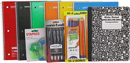 6-pack 1 Subject Wide Ruled Spiraled Notebooks, Composition Notebook, multi-colored #2 Pencils, with Pencil Sharpener and 0.7 mm Black Gel Pens