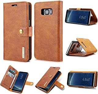 Protective Case Compatible with Samsung Leather Wallet Case Cover Compatible Samsung s8 Plus Original Flip Phone Case Luxury Coque Compatible Samsung s8 Plus Phone case (Color : Brown)
