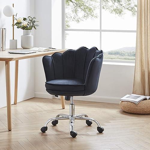 popular BELLEZE Kaylee popular Office Chair Upholstered Velvet Seashell Swivel Desk wholesale Chair Task Chair Height Adjustable, Black outlet sale