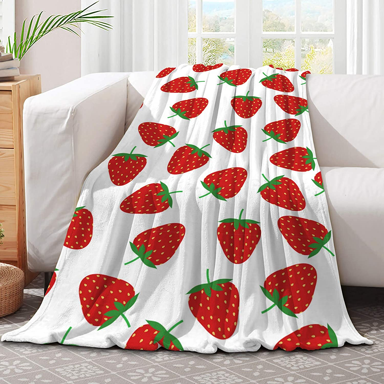 321DESIGN Cute Red Strawberry Microfiber Flannel for Blankets Free shipping anywhere in Seattle Mall the nation Co