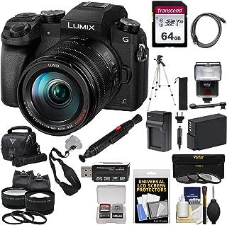 Panasonic Lumix DMC-G7 4K Wi-Fi Digital Camera & 14-140mm Lens with 64GB Card + Battery + Charger + Case + Flash + Tripod + 2 Lens Kit