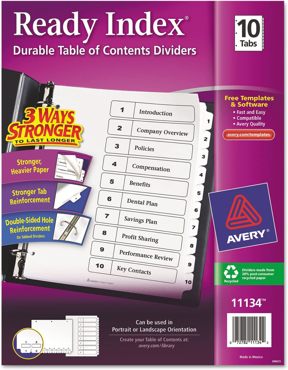 Avery 11134 Index Dividers Classic T OFFicial Store 2-Inch 1-10 8-1 x11-Inch