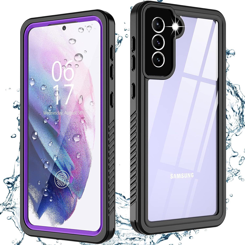 Oterkinfor Samsung Galaxy S21 Case,S21 Waterproof Casewith Built-in Screen Protector Dustproof Shockproof 360 Full Body Underwater Case for Samsung S21 5G 6.2inch (Purple)