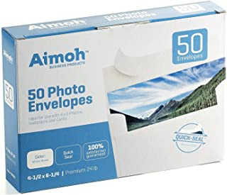 50 White A4 4x6 Photo SELF Seal Envelopes - Fits 4 x 6 Photos, Invitations, Strong SELF-Seal Closure, Size 4.5 x 6.25 Inc...