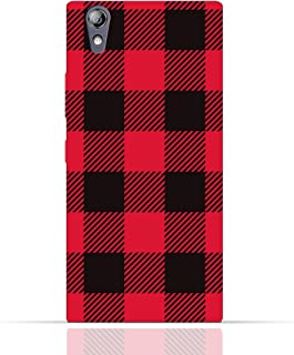 Lenovo P70 TPU Silicone Case with Red and Black Plaid Fabric Design