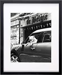 Flagship Frames 11x14 Picture Frame Black Sized 8x10 Inch with Mat and 11x14 Inch Without Mat Pre-Installed Wall Mounting Hardware with Back Easel (1)