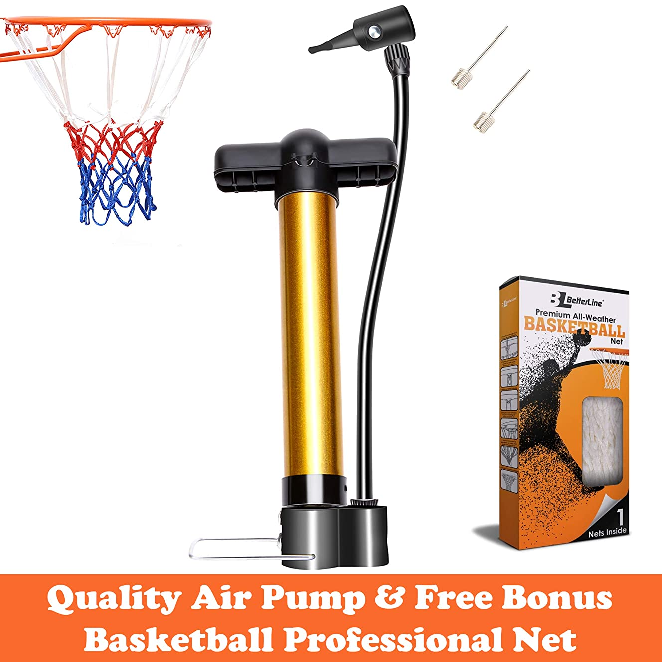 BETTERLINE Basketball Pump and Basketball Net - Inflation Device for Ball (2 Needles Included) and Bonus Basketball Net Included - All Weather Thick Net Fits Standard Indoor and Outdoor 12-Loop Rims