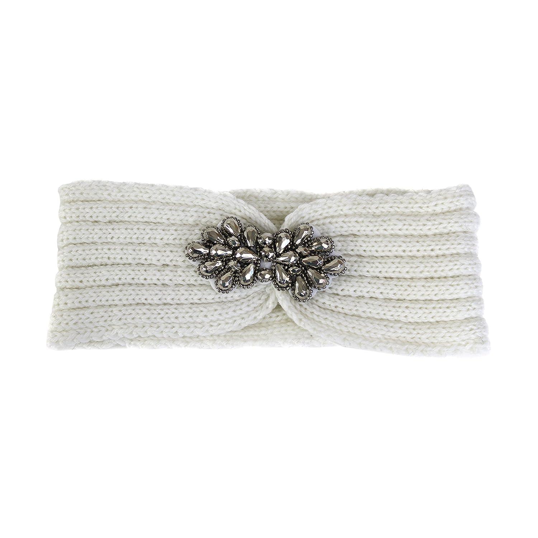 Knit Warm Winter Headband- Rhinestone Embellished Ear Warmer Snug Fit Headwrap (Ivory)