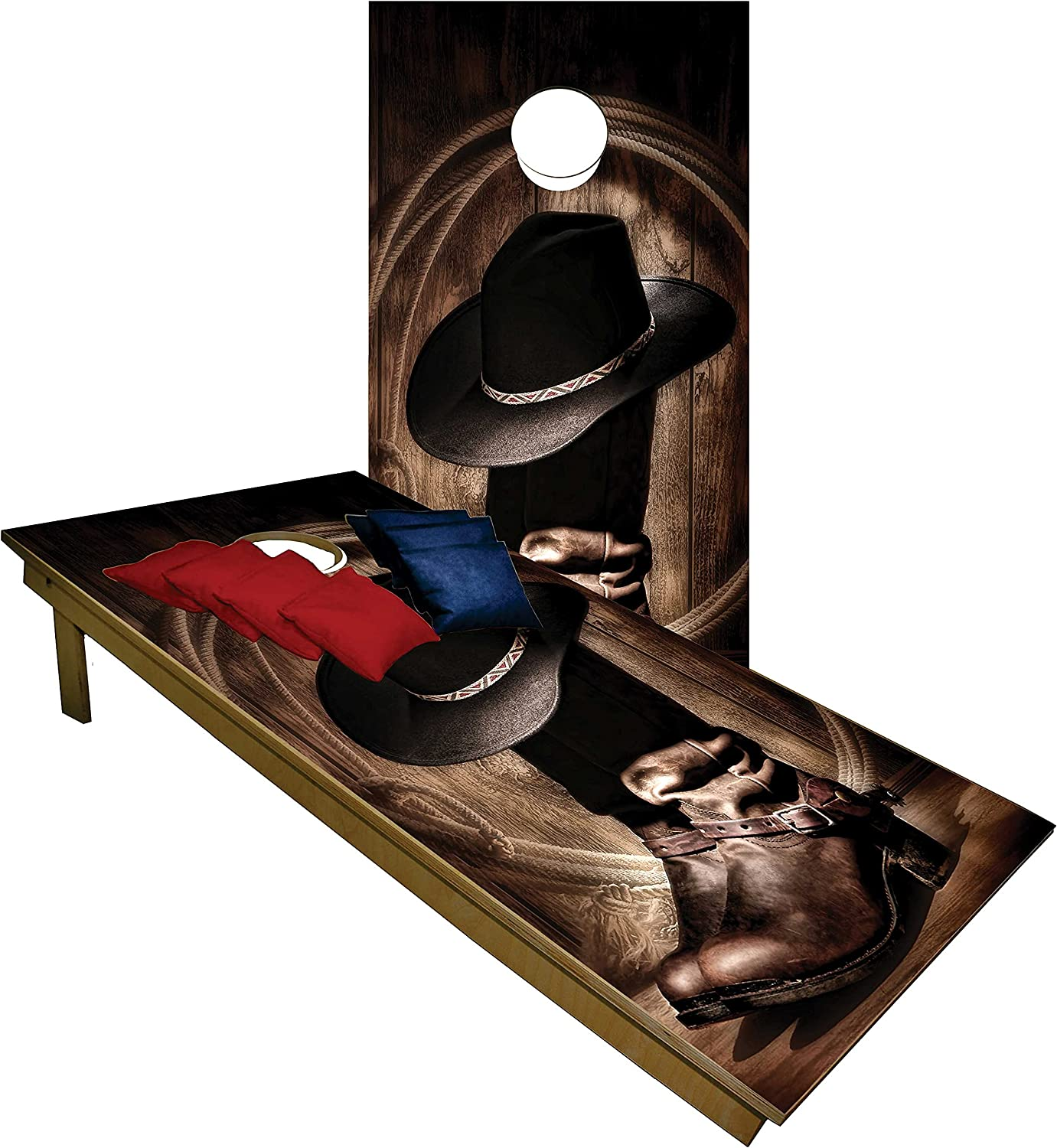Cornhole Set Many popular brands -Cowboy Weekly update Hat w Boots Boards Tailgate