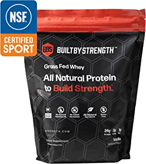 BuiltByStrength Grass Fed Whey Protein - NSF Certified All Natural Vanilla Whey Isolate Protein Powder - Tastes Great and Dissolves Easily in Coffee - Non GMO and Gluten Free (30 Servings)