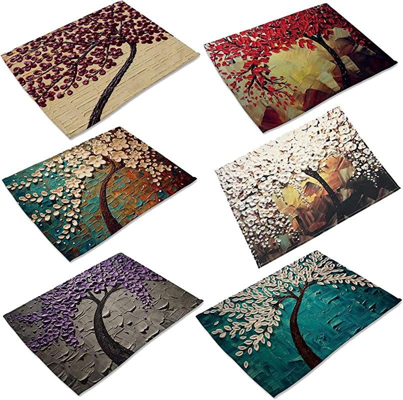 Oil Painting Cotton Linen Placemats Washable Non Slip Table Place Mat For Home Decorative Set Of 6