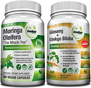 Focus + Energy Bundle | Panax Ginseng & Ginkgo Biloba Tablets + Moringa Oleifera Capsules - Premium Non-GMO/Veggie Superfood - Traditional Energy Booster and Brain Sharpener - Unique Trio Supplement