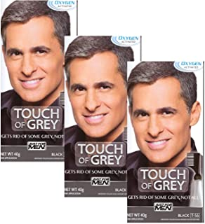 3 x Touch Of Grey Mens Hair Treatment Colour - Black Grey T55