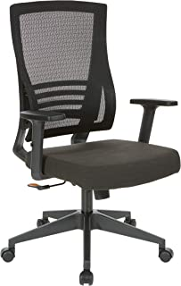 Office Star Fabric Seat and Mesh Back Manager's Chair with Adjustable Arms, Black