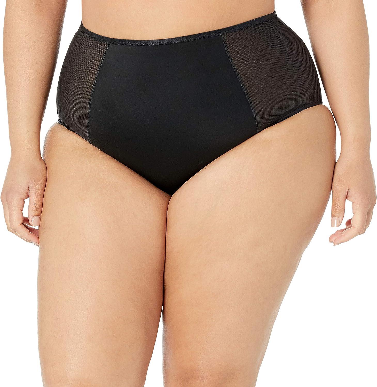 Curvy Couture Women's Plus Size Diamond Net High Waist Panty