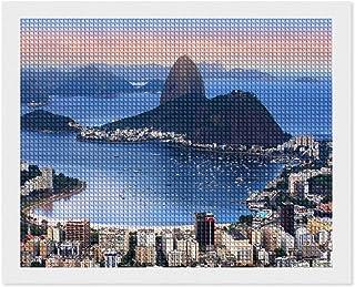 5D diamantmålningssatser Rio De Janeiro, Brasilien på kvällen sol vit-C-5 40 cm x 50 cm fyrkantig full borr 5D diamantpric...