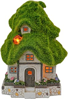 TERESA'S COLLECTIONS Flocked Fairy Garden House Statue, Outdoor Fairy House Figurine with Solar Lights, Garden Cottage Fig...