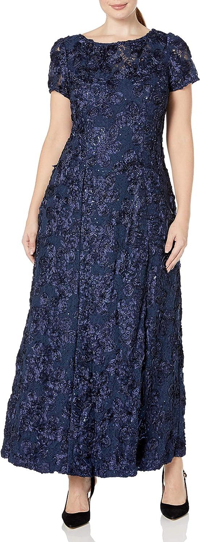Alex Evenings Women's Plus Size Long A-Line Rosette Dress with Short Sleeves