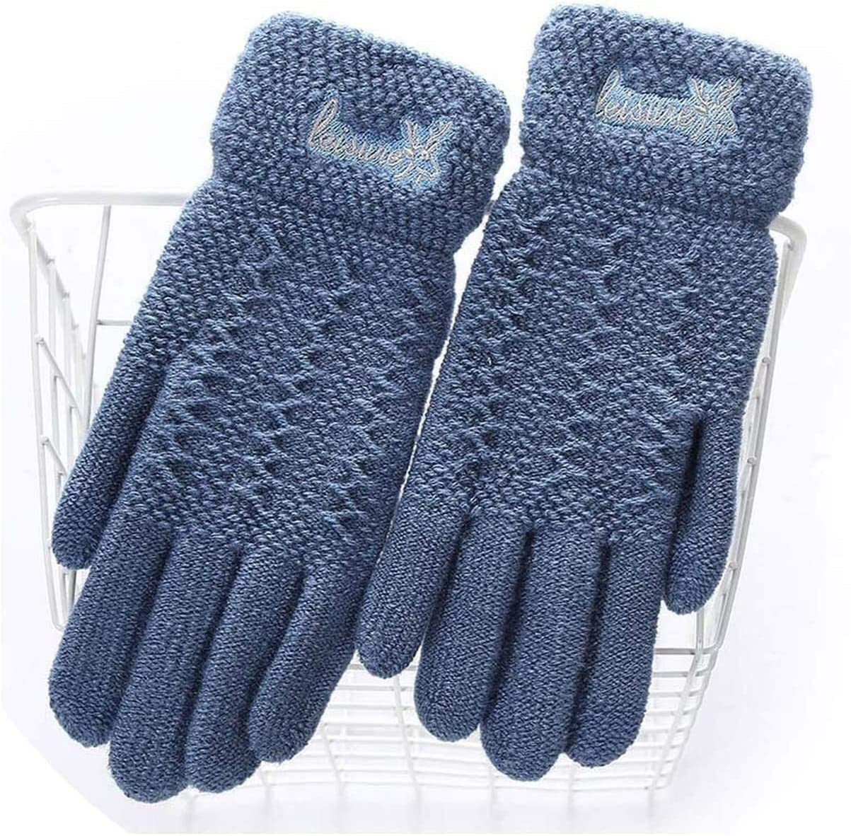 Warm Gloves Ladies Winter Warm Cute Cartoon Finger Knit Touch Screen Gloves Women Full Finger Soft Mittens Black Gloves (Color : E Sea Blue, Size : Oneszie)